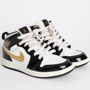 Nike Air Jordan 1 Retro Black White Gold Kid S. 1Y
